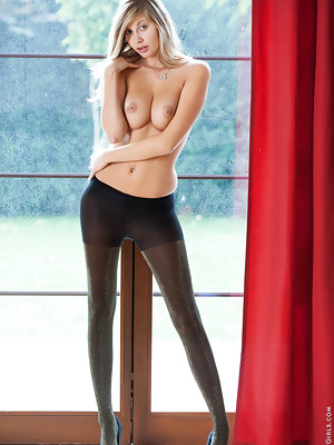 Super beautiful hot lady Barbie posing in black stockings and exposes her big boobs - image 13