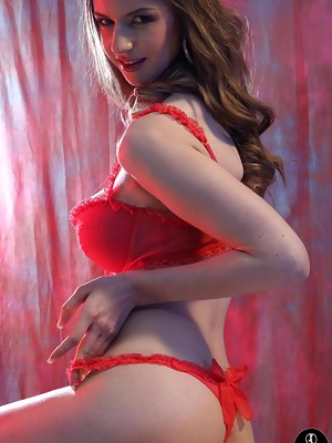 Stella Cox in red lingerie at Spinchix - image 8