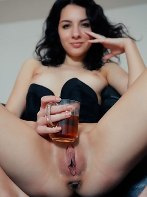 Caddy A reveals tiny breasts and shaved snatch in Tea Cup at Eternal Desire