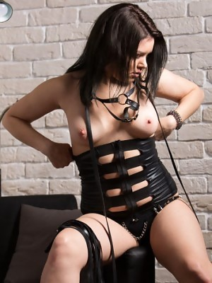 Bella A strips her leather lingerie as she flaunts her lusty body and sweet pussy