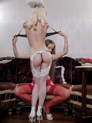 Milena D and Nika D teasing and seducing each other in sexy lingeri and thigh-high stockings - image 6