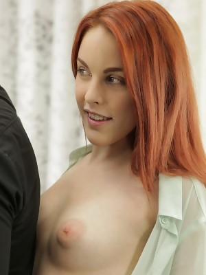Red hair Amarna Miller reveals puffy nipples and takes a cumshot on her tongue