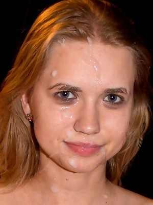 Violette Pure does not look happy with so much cum on her face