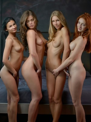 Gogeous sex sirens Caprice and Anjelica with The Red Fox and Keira are posing in foursome