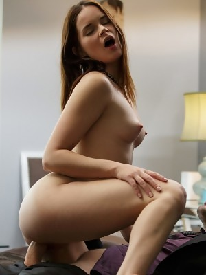 Petite secretary Jenna gives blowjob and sits on thick cock with her dripping pussy