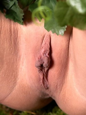 Blonde goddess Ilona shows perfectly shaved pussy in closeup