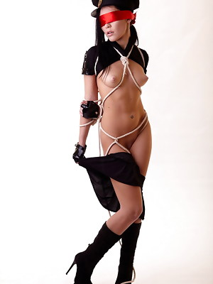 Black hair police girl Polly is getting tied up and naked - image 10